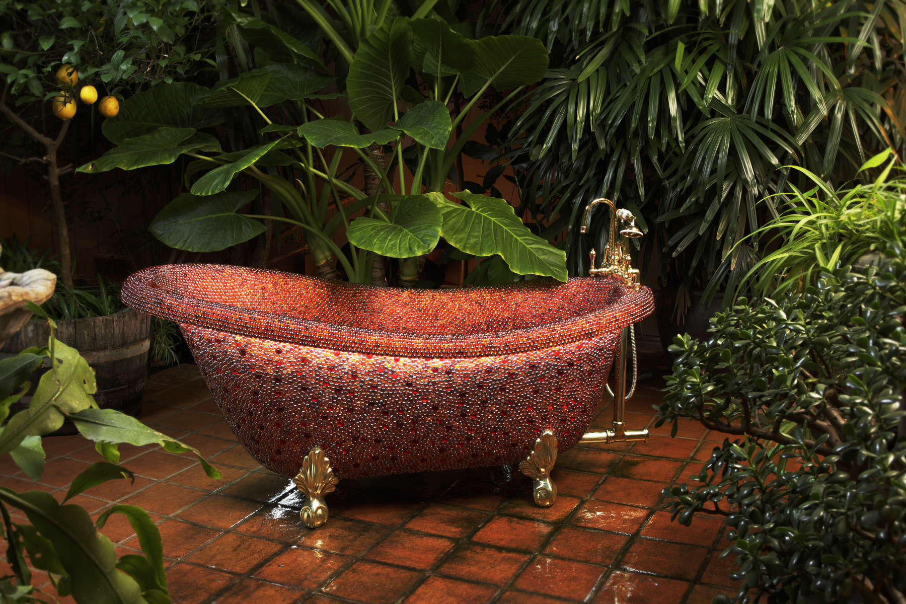 photo of Exotic bathtub with handset round tiles